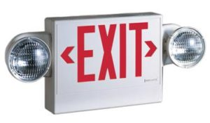 square sign with exit in red with large round light to left and right of square sign