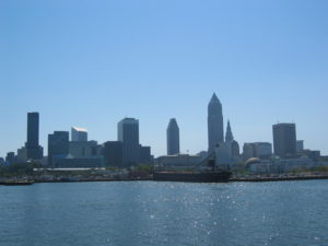 Lake Erie with buildings of Cleveland in the skyline
